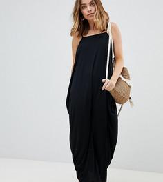 Платье макси с драпировкой ASOS DESIGN Petite - Черный
