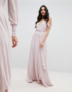 Платье макси с открытыми плечами и запахом TFNC - Коричневый