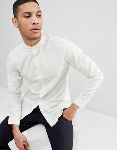 Рубашка узкого кроя в крапинку с воротником-стойкой Selected Homme - Белый