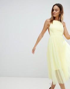 Премиум-платье миди с отделкой из тюля ASOS DESIGN - Синий