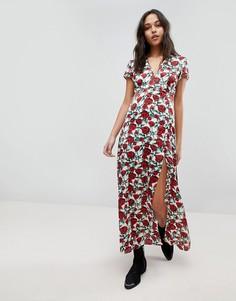 Платье макси с принтом роз, короткими рукавами и глубоким V-образным вырезом Wyldr - Мульти
