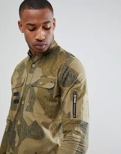 Рубашка классического кроя с принтом и карманами в стиле милитари Only & Sons - Зеленый