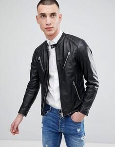 Кожаная байкерская куртка с молнией Replay - Черный