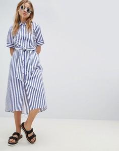 Платье-рубашка в полоску с поясом Pimkie - Синий