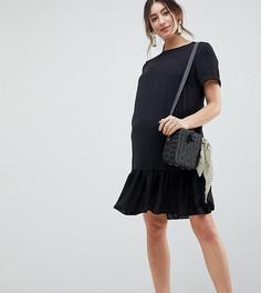 Платье-футболка мини с оборкой ASOS DESIGN Maternity - Черный