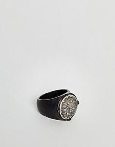 Черное матовое кольцо с цветочным рисунком Icon Brand - Черный