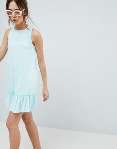 Платье мини со спинкой-борцовкой и оборкой на подоле ASOS DESIGN - Зеленый
