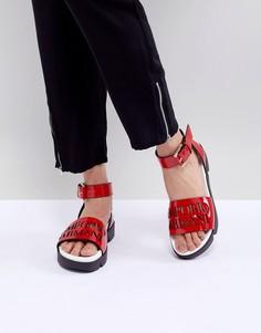 Кожаные сандалии с логотипом и пряжками Emporio Armani - Красный