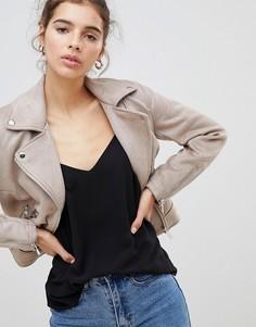 Байкерская куртка из искусственной замши New Look - Светло-бежевый
