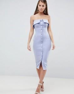 Платье-футляр миди на пуговицах с вырезом-бандо ASOS DESIGN - Синий