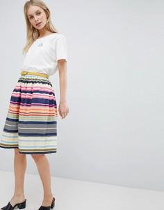 Короткая расклешенная юбка в полоску с ремнем Yumi - Мульти