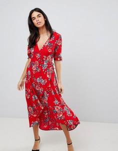 Платье миди с запахом и цветочным принтом Ax Paris - Красный