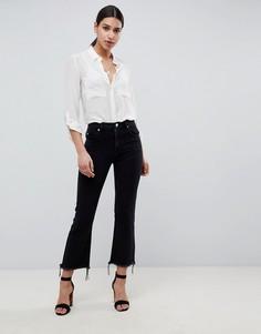 Черные расклешенные джинсы укороченного кроя с необработанными краями ASOS DESIGN - Черный