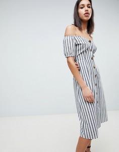 Платье миди в полоску на пуговицах с открытыми плечами ASOS DESIGN - Мульти
