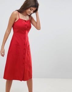 Льняной сарафан миди с пуговицами ASOS DESIGN - Красный