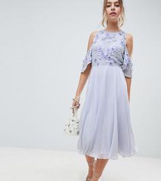 Приталенное платье миди с открытыми плечами и декорированным топом ASOS DESIGN Petite - Синий