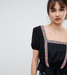 Блузка с пышными рукавами и цветочной отделкой Reclaimed Vintage Inspired - Черный