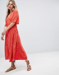 Платье миди с запахом и цветочным принтом Faithfull - Оранжевый