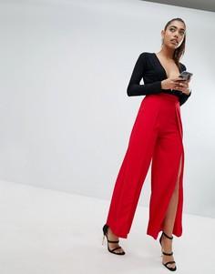 Строгие брюки с разрезами Lasula - Красный