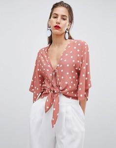 Укороченная блузка в горошек с завязкой River Island - Мульти
