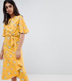 Платье миди с завязкой и цветочным принтом Influence Tall - Желтый