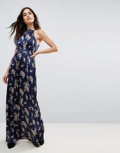 Атласное платье макси с цветочным принтом Wyldr - Темно-синий