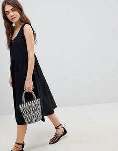 Платье-трапеция миди с оборками ASOS - Черный