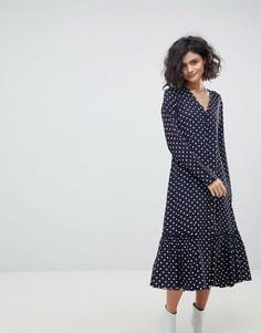 Платье миди в горошек на пуговицах ASOS DESIGN - Мульти