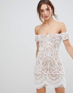 Кружевное платье с широким вырезом Boohoo - Белый