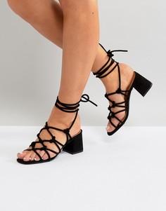 Черные босоножки на среднем каблуке Public Desire Freya - Черный