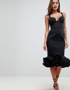 Премиум-платье миди с чашечками и баской ASOS DESIGN - Черный