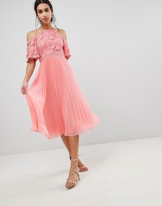 Платье миди с кружевом и юбкой плиссе ASOS DESIGN - Розовый
