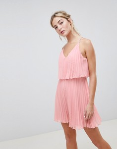 Плиссированное платье мини с кроп-топом ASOS DESIGN - Розовый