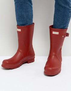 Короткие резиновые сапоги красного цвета Hunter - Красный