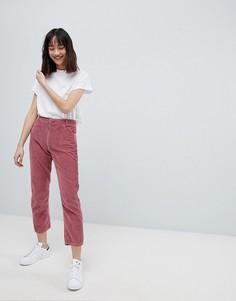 Вельветовые прямые джинсы с завышенной талией ASOS DESIGN - Розовый