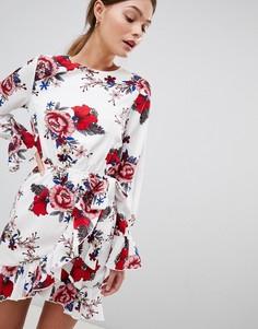 Платье с цветочным принтом и завязками Parisian - Белый