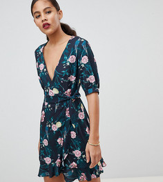 Платье с запахом и цветочным принтом Fashion Union Tall - Мульти