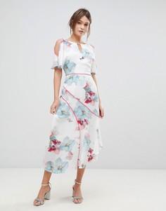 Платье с цветочным принтом и асимметричным подолом Coast - Белый