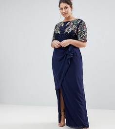 Платье макси с запахом на юбке Virgos Lounge Plus Ariann - Темно-синий