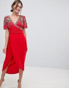 Декорированное платье миди с запахом Virgos Lounge Julisa - Красный