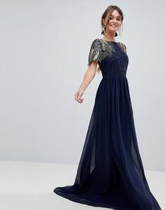 Платье макси с отделкой Virgos Lounge Lena - Темно-синий