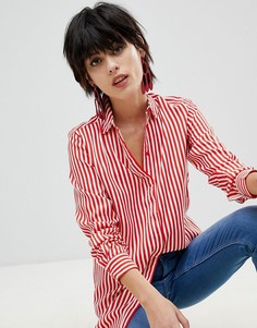 Свободная рубашка в полоску Pieces - Красный