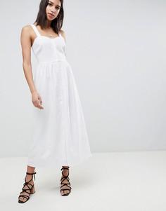 Льняное платье макси на пуговицах ASOS DESIGN - Белый