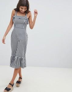 Платье в клетку с квадратным вырезом и баской ASOS DESIGN - Мульти
