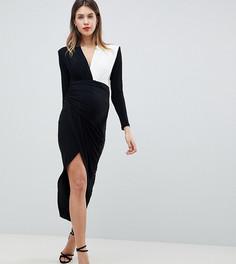 Платье макси с запахом и глубоким вырезом Queen Bee - Черный