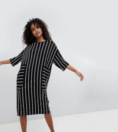 Платье-футболка миди в полоску Monki - Черный