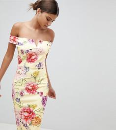 Платье миди со спущенными плечами и цветочным принтом Missguided - Желтый