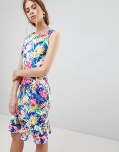Платье с баской и принтом Paper Dolls - Мульти