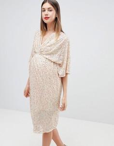 Платье миди с рукавами кимоно и пайетками ASOS DESIGN Maternity - Розовый