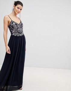 Шифоновое платье макси с отделкой City Goddess - Черный
